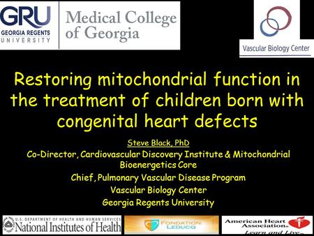 Restoring mitochondrial function in the treatment of children born with congenital heart defects Steve Black, PhD Co-Director, Cardiovascular Discovery.