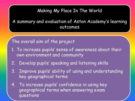 . Making My Place In The World A summary and evaluation of Aston Academy's learning outcomes Making My Place In The World A summary and evaluation of Aston.