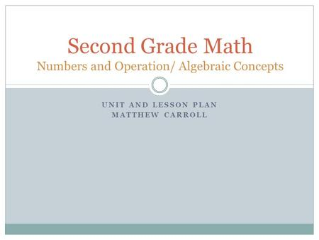 Second Grade Math Numbers and Operation/ Algebraic Concepts