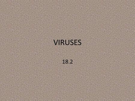 VIRUSES 18.2. Daily Objective 4/ 15 Describe common characteristics of Viruses.