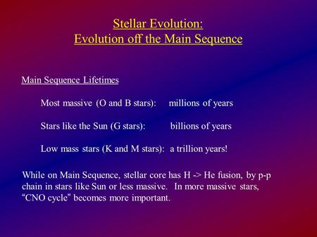 Evolution off the Main Sequence