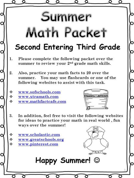 third grade math packet review summer review no prep. Black Bedroom Furniture Sets. Home Design Ideas