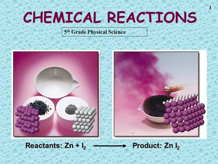 1 CHEMICAL REACTIONS Reactants: Zn + I 2 Product: Zn I 2 5 th Grade Physical Science.