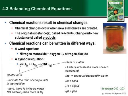 (c) McGraw Hill Ryerson 2007 4.3 Balancing Chemical Equations Chemical reactions result in chemical changes.  Chemical changes occur when new substances.