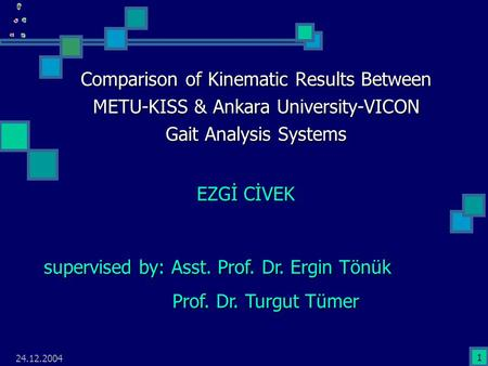 24.12.2004 1 Comparison of Kinematic Results Between METU-KISS & Ankara University-VICON Gait Analysis Systems EZGİ CİVEK supervised by: Asst. Prof. Dr.