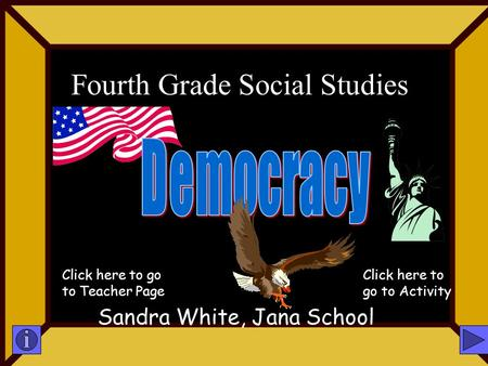 Fourth Grade Social Studies Sandra White, Jana School Click here to go to Teacher Page Click here to go to Activity.