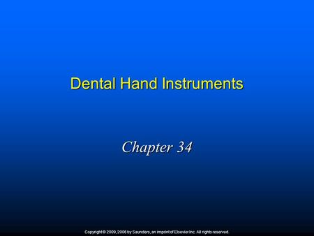 Dental Hand Instruments