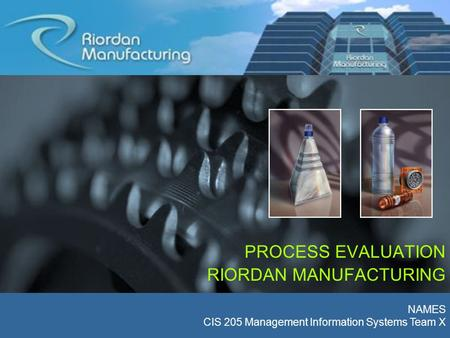inventory requirements for riordan manufacturing