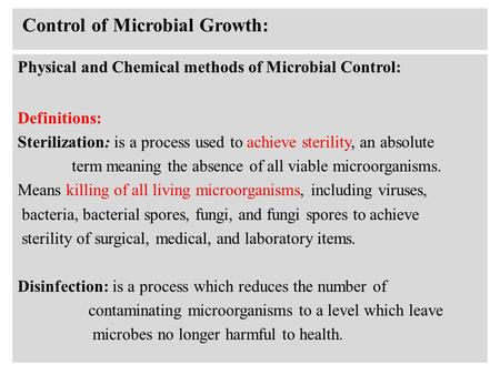 Control of Microbial Growth: