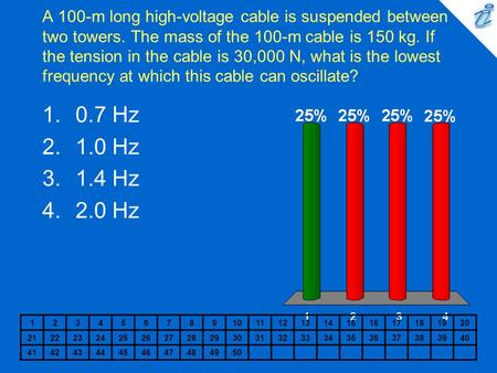 A 100-m long high-voltage cable is suspended between two towers. The mass of the 100-m cable is 150 kg. If the tension in the cable is 30,000 N, what is.