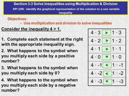 Section 3-3 Solve Inequalities using Multiplication & Division SPI 22N: identify the graphical representation of the solution to a one variable inequality.