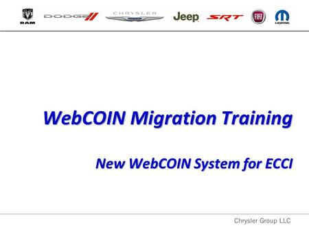 WebCOIN Migration Training