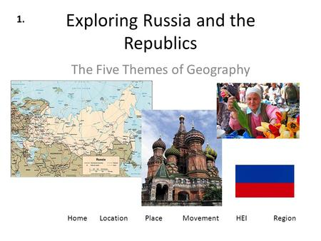 Exploring Russia and the Republics The Five Themes of Geography LocationPlaceMovementHEIRegionHome 1.