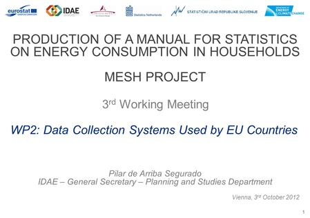 1 PRODUCTION OF A MANUAL FOR STATISTICS ON ENERGY CONSUMPTION IN HOUSEHOLDS MESH PROJECT 3 rd Working Meeting Vienna, 3 rd October 2012 WP2: Data Collection.