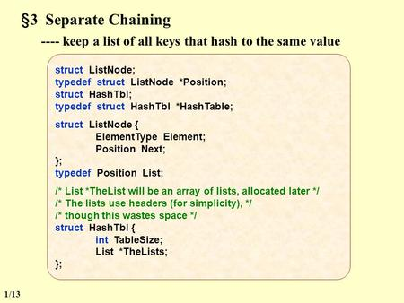 §3 Separate Chaining ---- keep a list of all keys that hash to the same value struct ListNode; typedef struct ListNode *Position; struct HashTbl; typedef.