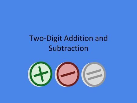 Two-Digit Addition and Subtraction Time to assess kids will be inserted when we know what time that will occur!