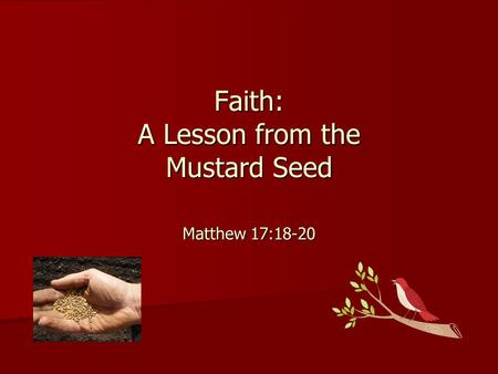 Faith: A Lesson from the Mustard Seed Matthew 17:18-20.