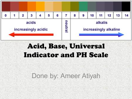 Acid, Base, Universal Indicator and PH Scale Done by: Ameer Atiyah.