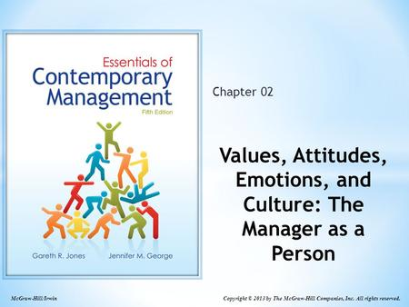 Copyright © 2013 by The McGraw-Hill Companies, Inc. All rights reserved. McGraw-Hill/Irwin Chapter 02 Values, Attitudes, Emotions, and Culture: The Manager.