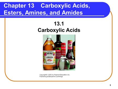 Chapter 13 Carboxylic Acids, Esters, Amines, and Amides