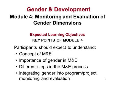 Participants should expect to understand: Concept of M&E Importance of gender in M&E Different steps in the M&E process Integrating gender into program/project.