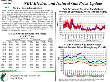 Progressive Energy Solutions, LLC July 28, 2010 NYMEX N. Illinois Hub Electric Prices 12-Month Forward Prices Through July 15, 2010 * NEU Electric and.