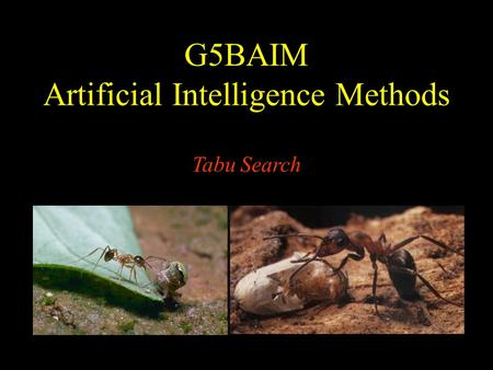 G5BAIM Artificial Intelligence Methods Tabu Search.