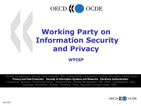 1 May 2006 … Identity management - Internet - Data controller - PKI - Vulnerabilities - Fingerprint - Critical Information Infrastructure - Privacy and.