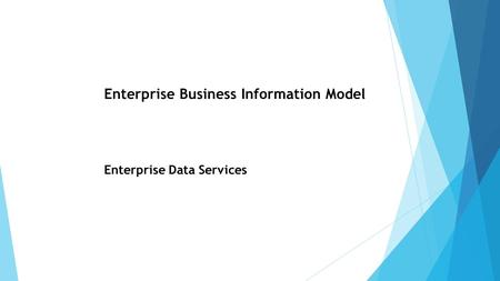 Enterprise Business Information Model Enterprise Data Services.