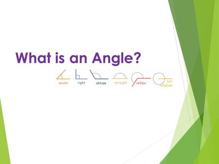 What is an Angle?. Objectives  Know that angles are measured in degrees  That a whole turn is 360º  That half a turn is 180º  Right angle is 90º 