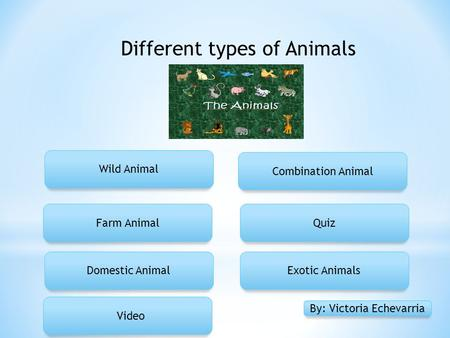 Different types of Animals Wild Animal Farm Animal Domestic Animal Quiz Exotic Animals Combination Animal By: Victoria Echevarria Video.