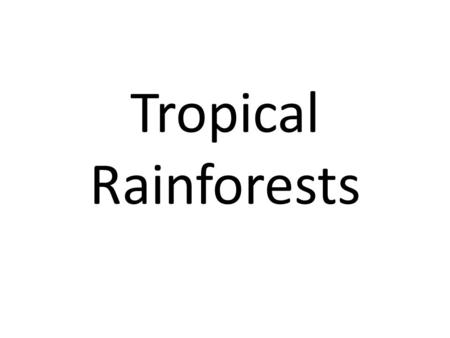 Tropical Rainforests. Climate The tropical rainforest ecosystem is located in a band 5 either side of the equator. This means that it is hot throughout.