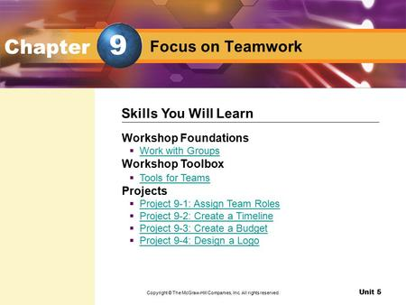 Unit 5 Design as a Team Focus on Teamwork Chapter Workshop Foundations  Work with Groups Work with Groups Workshop Toolbox  Tools for Teams Tools for.