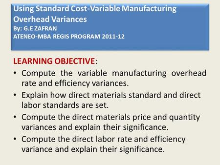 standard costing operational performance measures