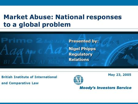 Market Abuse: National responses to a global problem Presented by: Nigel Phipps Regulatory Relations Presented by: Nigel Phipps Regulatory Relations May.