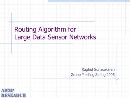 Routing Algorithm for Large Data Sensor Networks Raghul Gunasekaran Group Meeting Spring 2006.