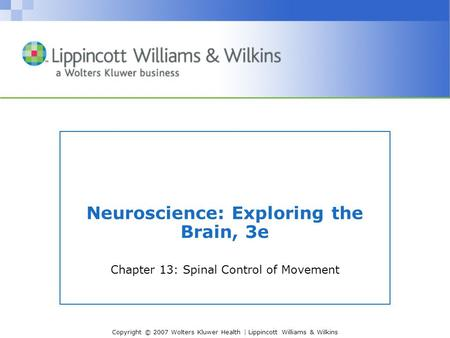 Copyright © 2007 Wolters Kluwer Health | Lippincott Williams & Wilkins Neuroscience: Exploring the Brain, 3e Chapter 13: Spinal Control of Movement.