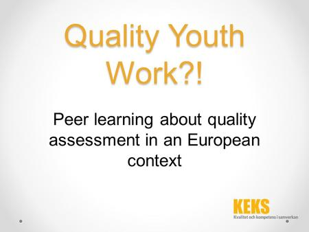 Quality Youth Work?! Peer learning about quality assessment in an European context.