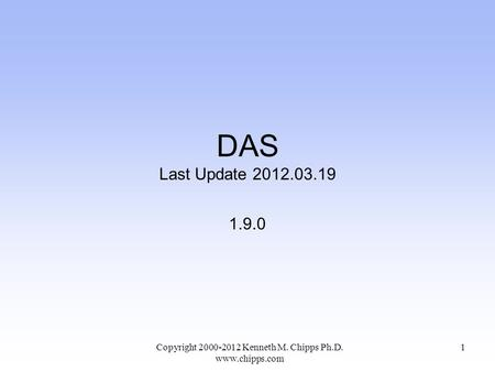 DAS Last Update 2012.03.19 1.9.0 Copyright 2000-2012 Kenneth M. Chipps Ph.D. www.chipps.com 1.