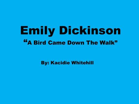 "Emily Dickinson ""A Bird Came Down The Walk"""