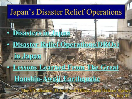 1 Japan's Disaster Relief Operations Disasters in Japan Disasters in Japan Disaster Relief Operations(DROs) Disaster Relief Operations(DROs) in Japan in.