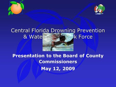 Central Florida Drowning Prevention & Water Safety Task Force Presentation to the Board of County Commissioners May 12, 2009.