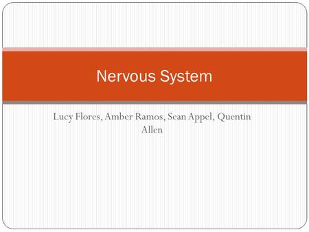 Lucy Flores, Amber Ramos, Sean Appel, Quentin Allen Nervous System.