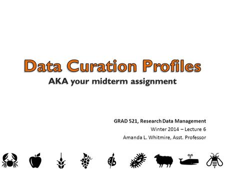 GRAD 521, Research Data Management Winter 2014 – Lecture 6 Amanda L. Whitmire, Asst. Professor.