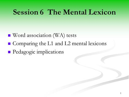 COMPARING THE L1 AND L2 MENTAL LEXICON: A Depth of Individual Word Knowledge Model