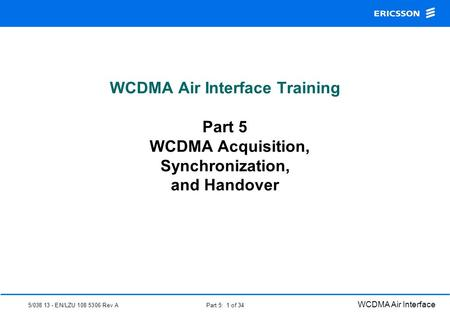 WCDMA Physical Layer Procedures