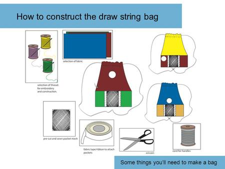 How to construct the draw string bag Some things you'll need to make a bag.