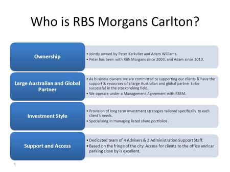 1 Who is RBS Morgans Carlton? Jointly owned by Peter Kerkvliet and Adam Williams. Peter has been with RBS Morgans since 2003, and Adam since 2010. Ownership.