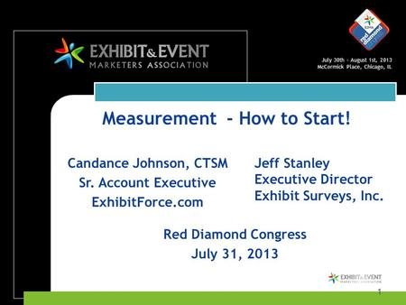 July 30th – August 1st, 2013 McCormick Place, Chicago, IL 1 Candance Johnson, CTSM Sr. Account Executive ExhibitForce.com Red Diamond Congress July 31,
