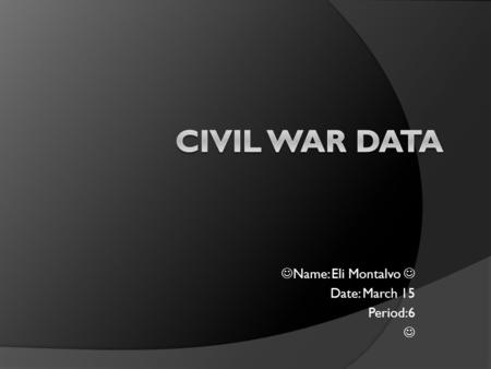 Name: Eli Montalvo Date: March 15 Period:6. Causes Of The Civil War  1.Abraham Lincoln is elected President of the United States.  2.Lincoln says, as.